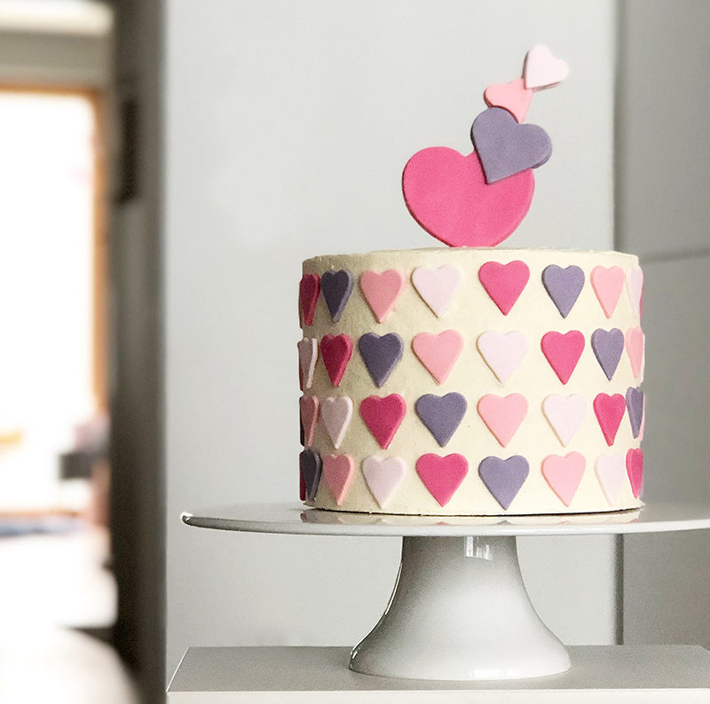 Valentines day cake with Ombre fondant hearts