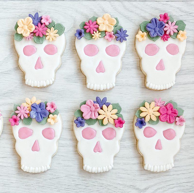 Halloween Flower Crown Totenkopf Kekse