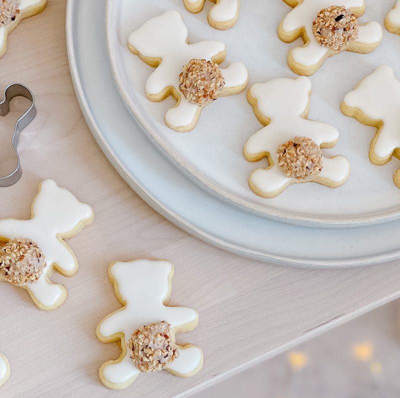 Süße Mürbteig Eisbären Kekse mit Giotto Schwänzchen