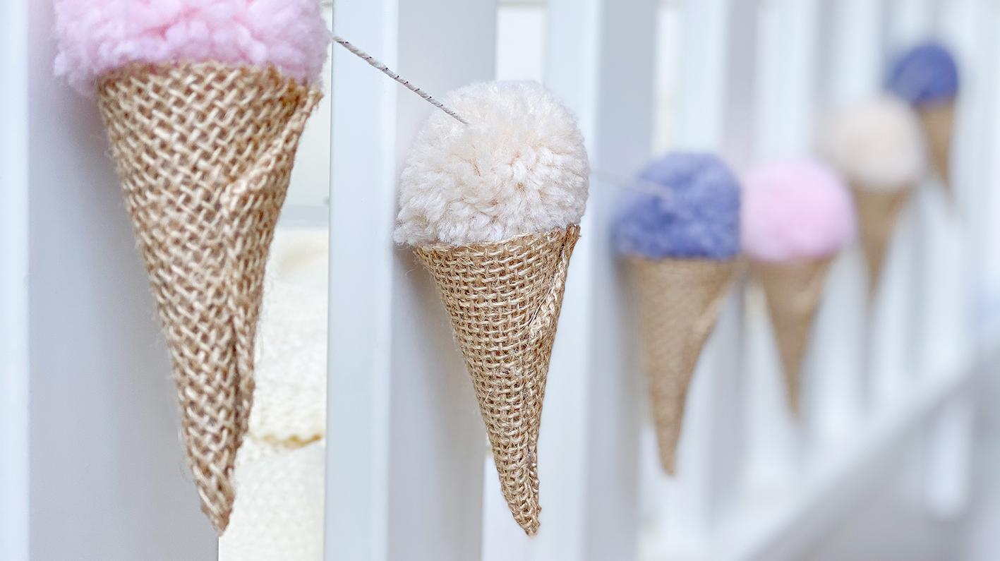 CF CosyFoxes Pompon Eis Waffel Girlande selber machen DIY
