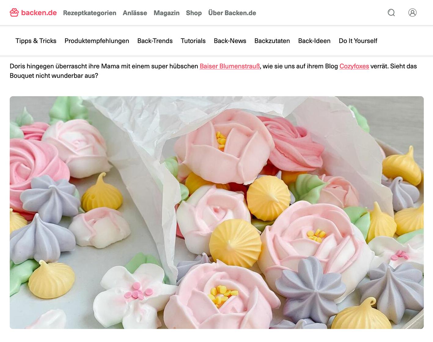 CF CosyFoxes Press Clients Backen.de Muttertag Baiser Blumen Meringue